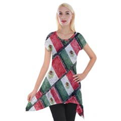 Mexican Flag Pattern Design Short Sleeve Side Drop Tunic