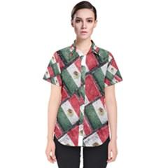 Mexican Flag Pattern Design Women s Short Sleeve Shirt