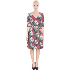Mexican Flag Pattern Design Wrap Up Cocktail Dress
