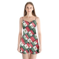 Mexican Flag Pattern Design Satin Pajamas Set