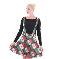 Mexican Flag Pattern Design Suspender Skater Skirt