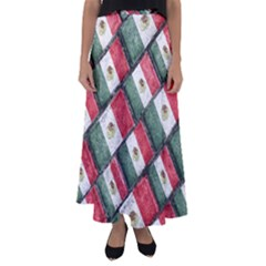 Mexican Flag Pattern Design Flared Maxi Skirt