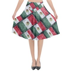 Mexican Flag Pattern Design Flared Midi Skirt