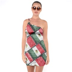 Mexican Flag Pattern Design One Soulder Bodycon Dress
