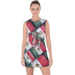 Mexican Flag Pattern Design Lace Up Front Bodycon Dress