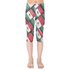 Mexican Flag Pattern Design Kids  Capri Leggings