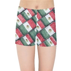 Mexican Flag Pattern Design Kids Sports Shorts