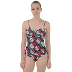 Mexican Flag Pattern Design Sweetheart Tankini Set