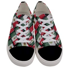 Mexican Flag Pattern Design Women s Low Top Canvas Sneakers