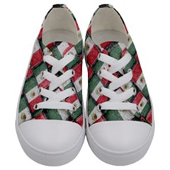 Mexican Flag Pattern Design Kids  Low Top Canvas Sneakers