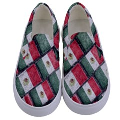 Mexican Flag Pattern Design Kids  Canvas Slip Ons