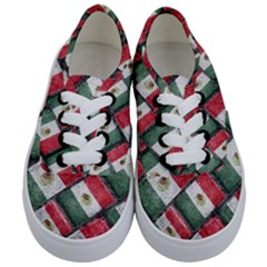 Mexican Flag Pattern Design Kids  Classic Low Top Sneakers