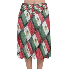 Mexican Flag Pattern Design Velvet Flared Midi Skirt