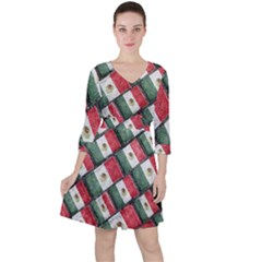 Mexican Flag Pattern Design Ruffle Dress