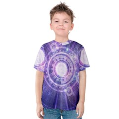 Blue Fractal Alchemy Hud For Bending Hyperspace Kids  Cotton Tee