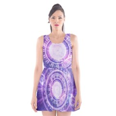 Blue Fractal Alchemy Hud For Bending Hyperspace Scoop Neck Skater Dress