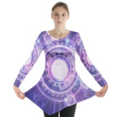Blue Fractal Alchemy Hud For Bending Hyperspace Long Sleeve Tunic