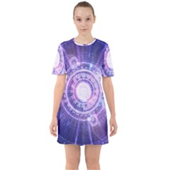 Blue Fractal Alchemy Hud For Bending Hyperspace Sixties Short Sleeve Mini Dress