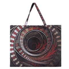 The Thousand And One Rings Of The Fractal Circus Zipper Large Tote Bag