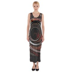 The Thousand And One Rings Of The Fractal Circus Fitted Maxi Dress