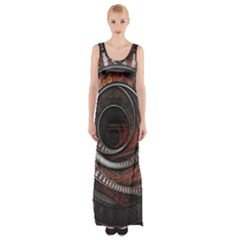 The Thousand And One Rings Of The Fractal Circus Maxi Thigh Split Dress