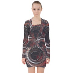 The Thousand And One Rings Of The Fractal Circus V Neck Bodycon Long Sleeve Dress