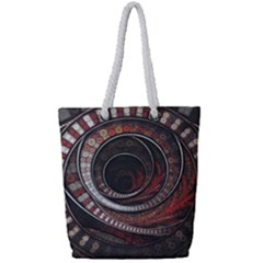 The Thousand And One Rings Of The Fractal Circus Full Print Rope Handle Bag (small)