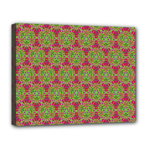 Red Green Flower Of Life Drawing Pattern Canvas 14  X 11