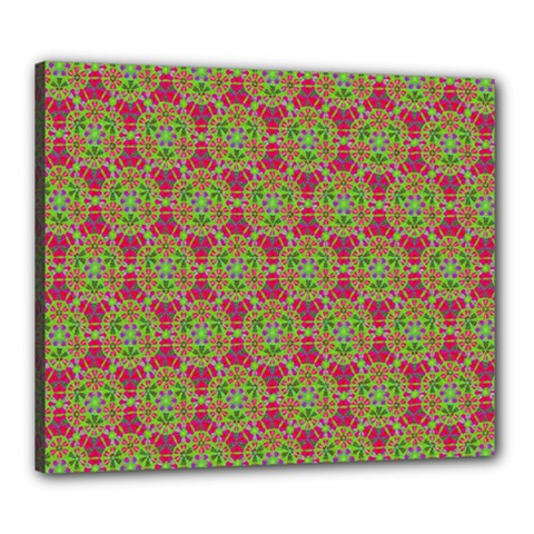Red Green Flower Of Life Drawing Pattern Canvas 24  X 20