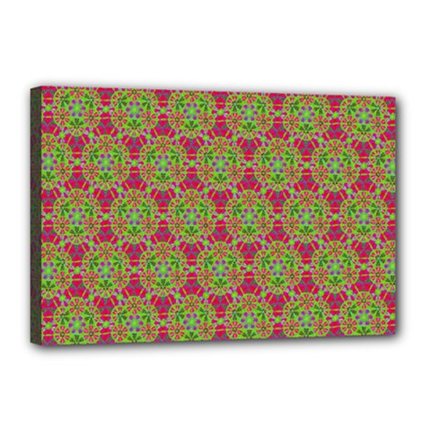Red Green Flower Of Life Drawing Pattern Canvas 18  X 12