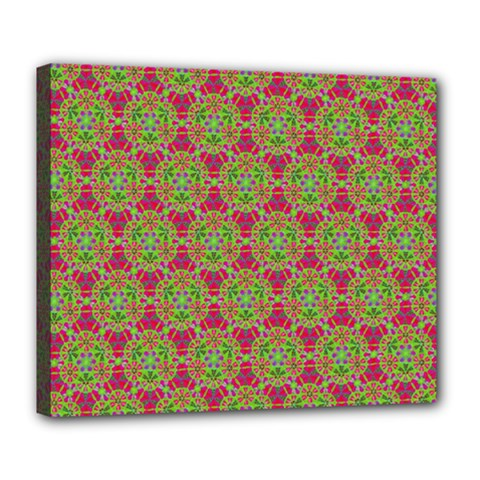 Red Green Flower Of Life Drawing Pattern Deluxe Canvas 24  X 20