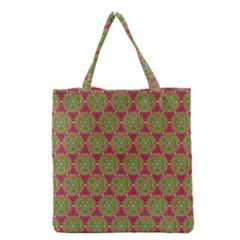 Red Green Flower Of Life Drawing Pattern Grocery Tote Bag