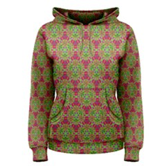 Red Green Flower Of Life Drawing Pattern Women s Pullover Hoodie
