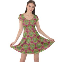 Red Green Flower Of Life Drawing Pattern Cap Sleeve Dress