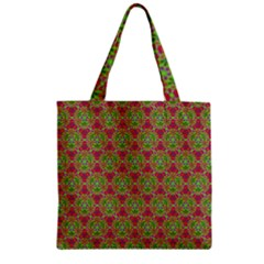 Red Green Flower Of Life Drawing Pattern Zipper Grocery Tote Bag