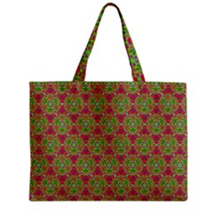 Red Green Flower Of Life Drawing Pattern Zipper Mini Tote Bag