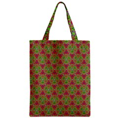 Red Green Flower Of Life Drawing Pattern Zipper Classic Tote Bag