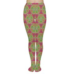 Red Green Flower Of Life Drawing Pattern Women s Tights