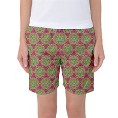Red Green Flower Of Life Drawing Pattern Women s Basketball Shorts