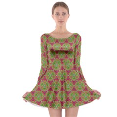Red Green Flower Of Life Drawing Pattern Long Sleeve Skater Dress
