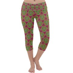 Red Green Flower Of Life Drawing Pattern Capri Yoga Leggings