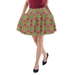 Red Green Flower Of Life Drawing Pattern A Line Pocket Skirt