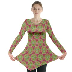 Red Green Flower Of Life Drawing Pattern Long Sleeve Tunic