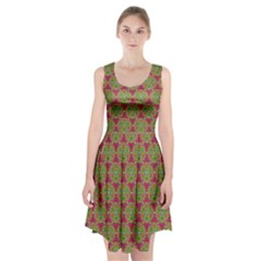 Red Green Flower Of Life Drawing Pattern Racerback Midi Dress