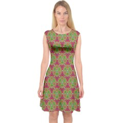 Red Green Flower Of Life Drawing Pattern Capsleeve Midi Dress