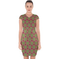Red Green Flower Of Life Drawing Pattern Capsleeve Drawstring Dress
