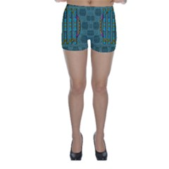 Freedom Is Every Where Just Love It Pop Art Skinny Shorts