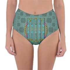 Freedom Is Every Where Just Love It Pop Art Reversible High Waist Bikini Bottoms