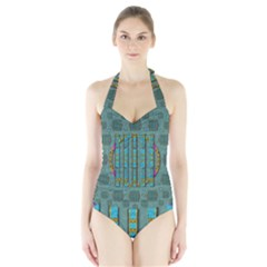 Freedom Is Every Where Just Love It Pop Art Halter Swimsuit