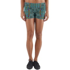Freedom Is Every Where Just Love It Pop Art Yoga Shorts